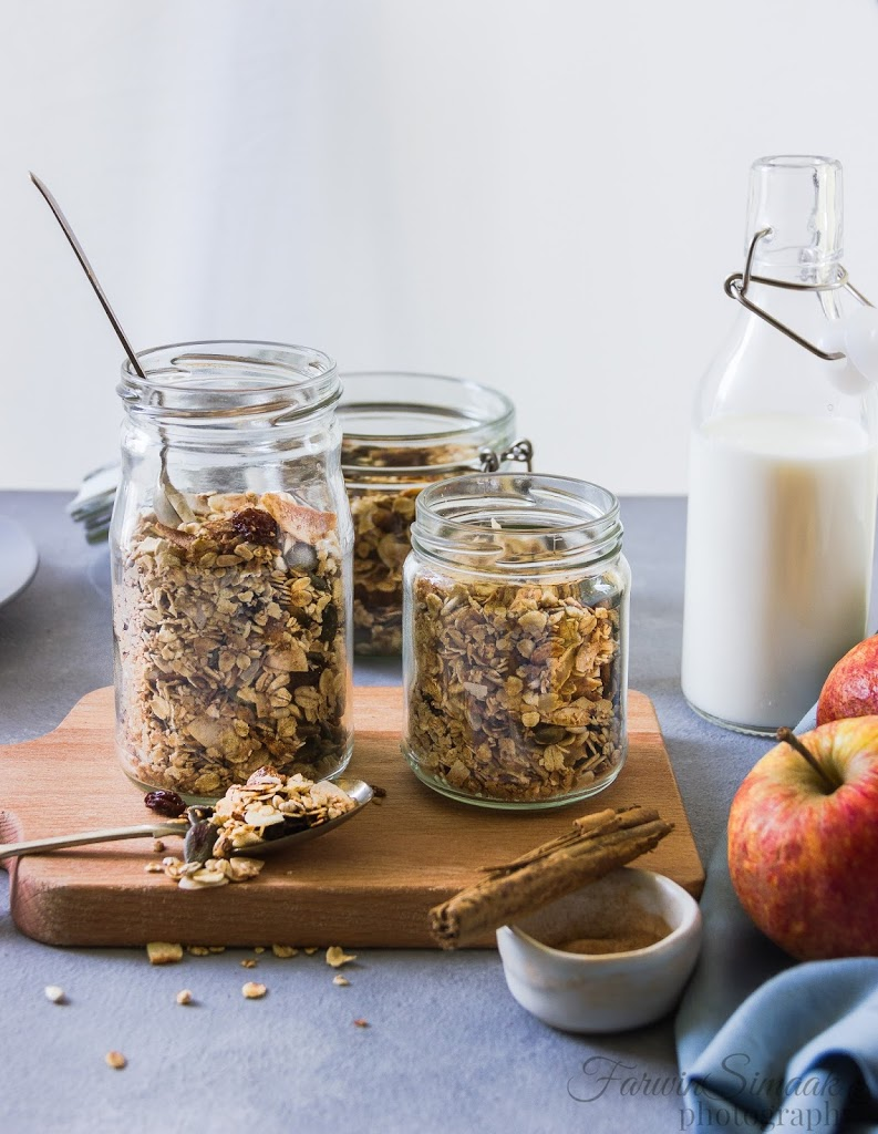 cinnamon coconut granola in bottles