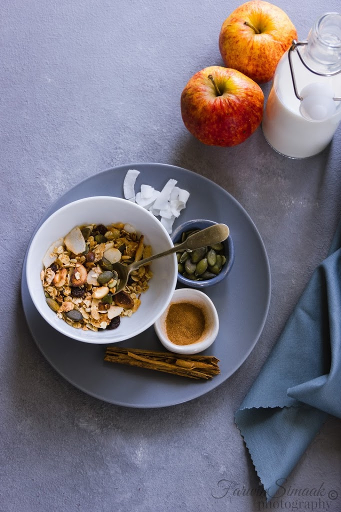 cinnamon coconut granola in a bowl