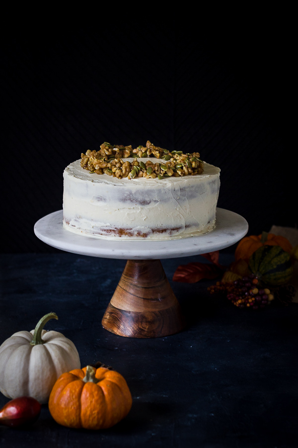 Gluten free pumpkin layer cake with cream cheese frosting