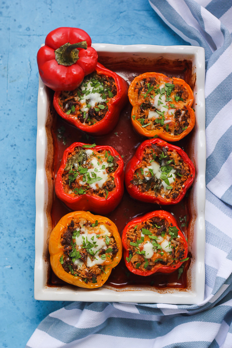 baked stuffed peppers from the oven