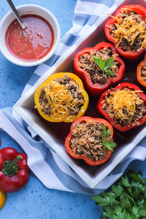 beef and rice stuffed peppers before going to the oven