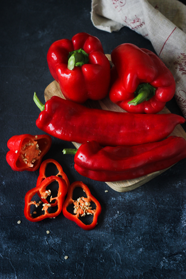Red bell peppers and sweet chili peppers