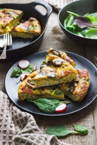 Baked Mushroom & Spinach Frittata slices
