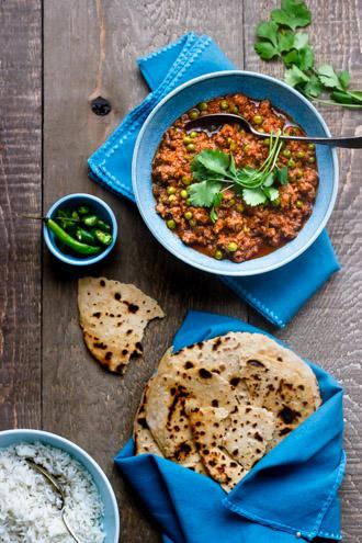 Keema curry with rice and roti