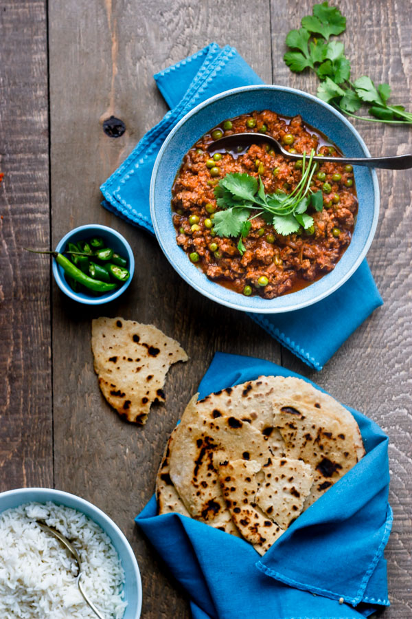 Keema curry with rice and roti
