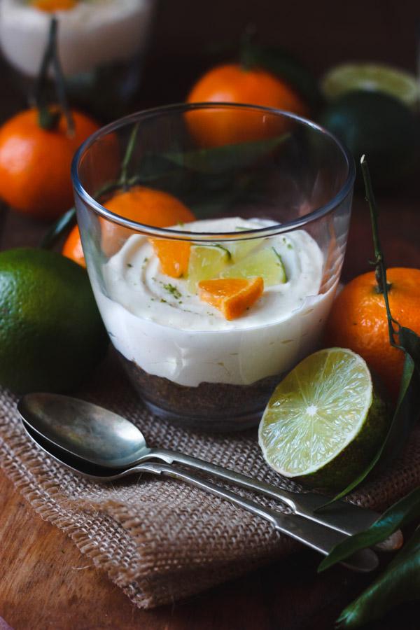 mandarin lime cheesecake in a pot