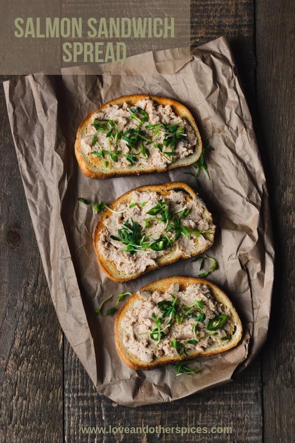 salmon sandwich spread on toasts