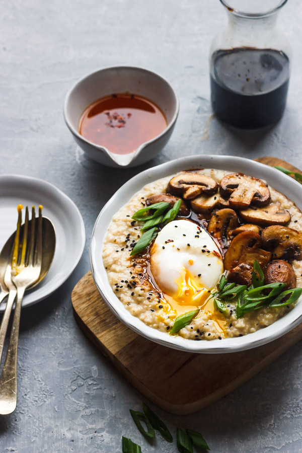 savory oatmeal with poached egg,mushrooms and scallions