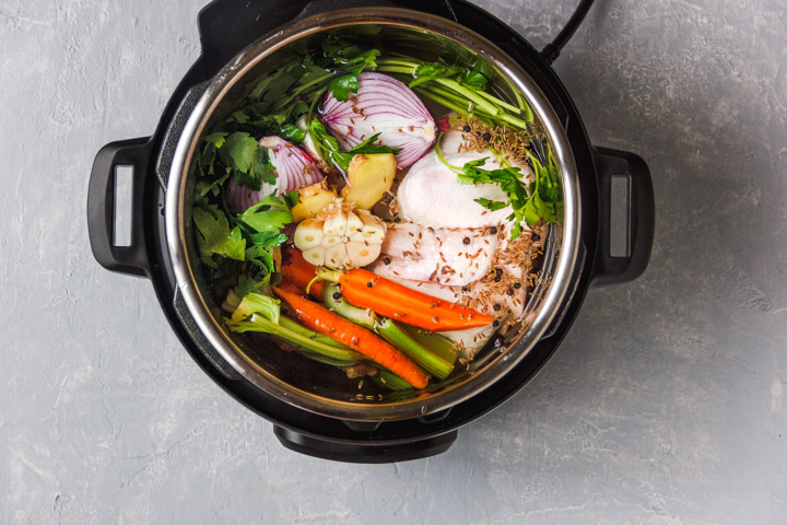 Ingredients for chicken stock in instant pot