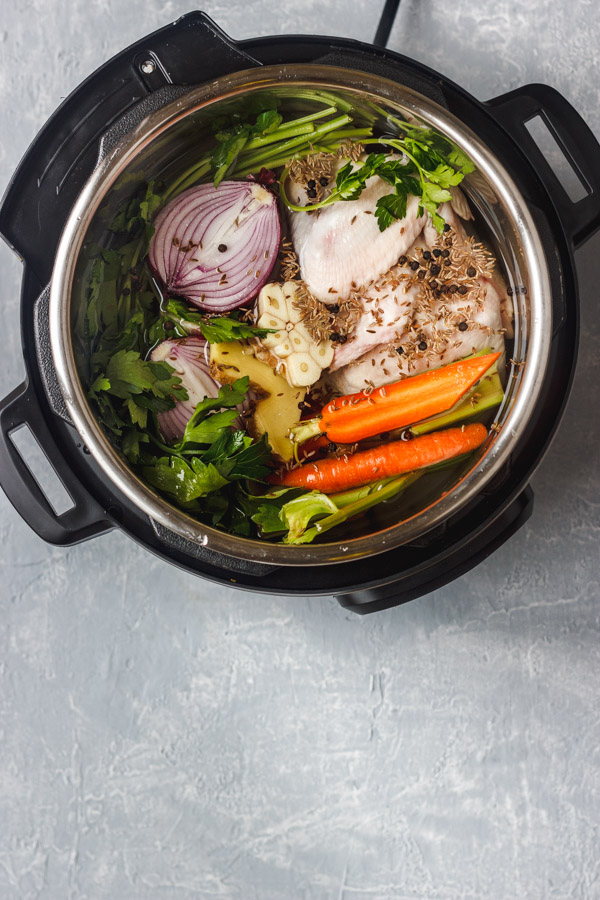 Ingredients for instant pot chicken stock