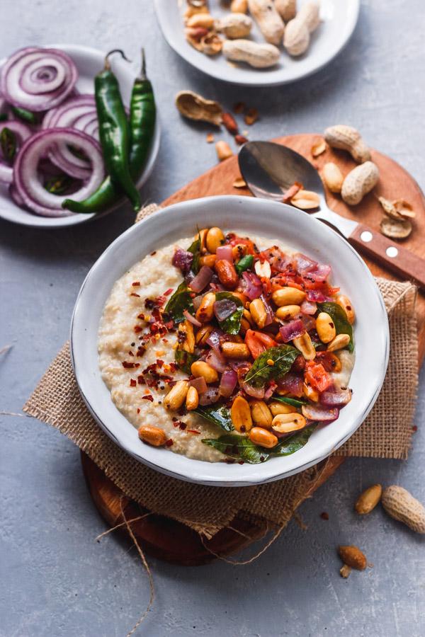 savory oats topped peanut, sauteed onions and chili