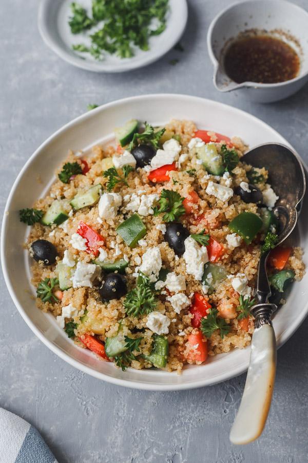 mediterranean quinoa salad in a bowl