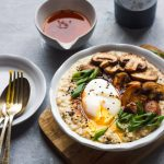 savory oatmeal topped with poached egg,sauteed mushrooms and scallions