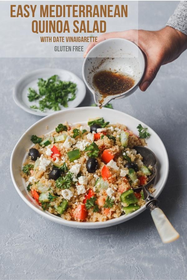 mediterranean quinoa salad with date vinaigarette