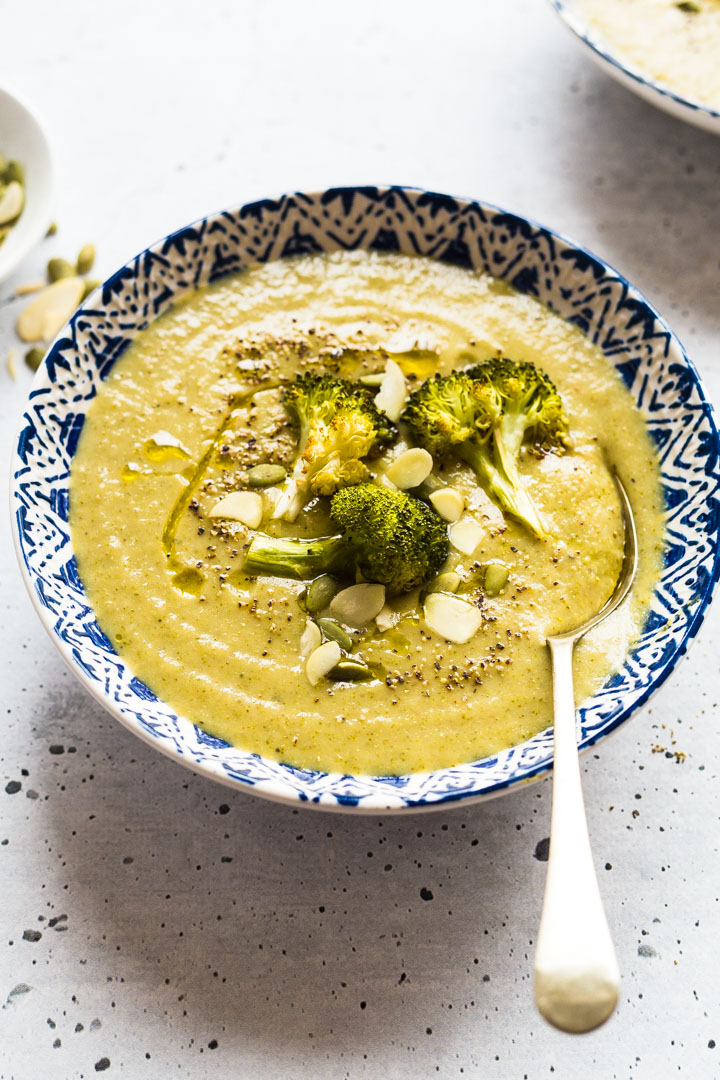 Easy Roasted Broccoli Soup in a bowl