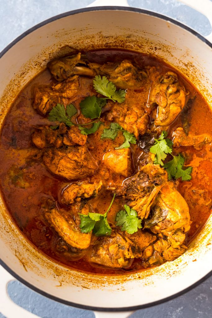 Srilankan chicken curry in the pot