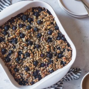 baked oatmeal in the dish