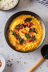 red lentil dal in a bowl