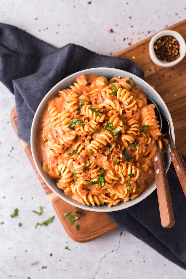 roasted vegetable and tomato pasta sauce with cooked pasta
