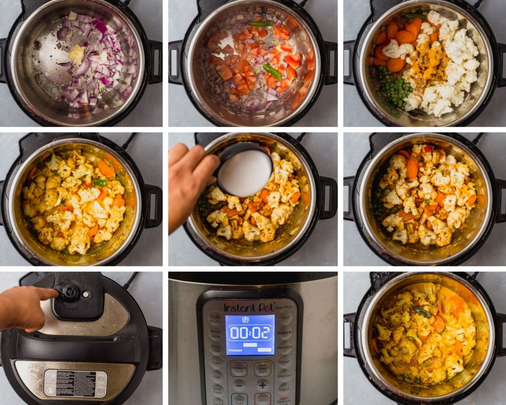 step by step instructions for instant pot cauliflower coconut curry